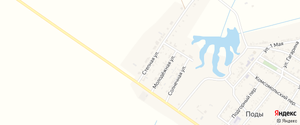 Степная улица на карте села Поды Астраханской области с номерами домов