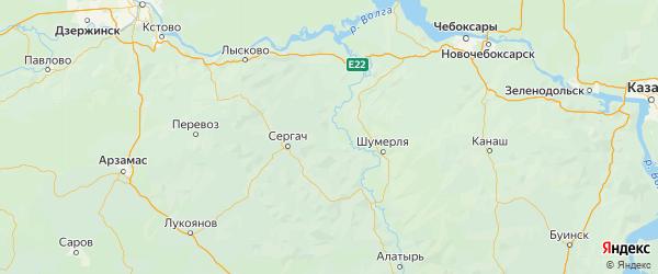 Карта Пильнинского района Нижегородской области с городами и населенными пунктами