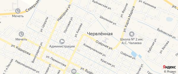 Озерная улица на карте Червленной станицы Чечни с номерами домов