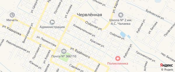 Улица Фрунзе на карте Червленной станицы Чечни с номерами домов