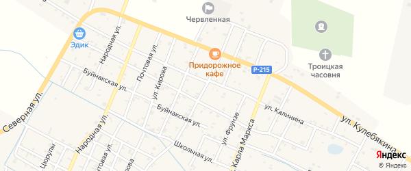 Безымянная улица на карте Червленной станицы с номерами домов