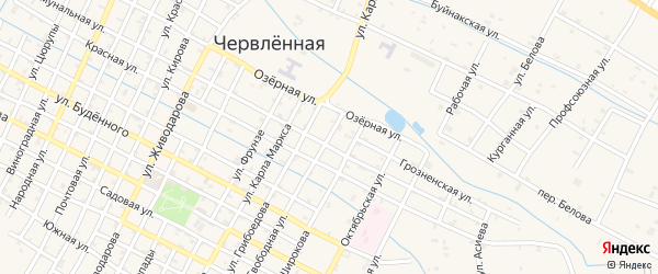 Свободная улица на карте Червленной станицы Чечни с номерами домов