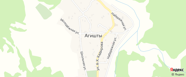 Родниковый переулок на карте села Агишты Чечни с номерами домов