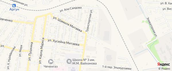 Транспортная улица на карте Аргуна с номерами домов