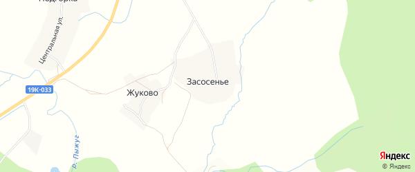 Карта деревни Засосенья в Вологодской области с улицами и номерами домов