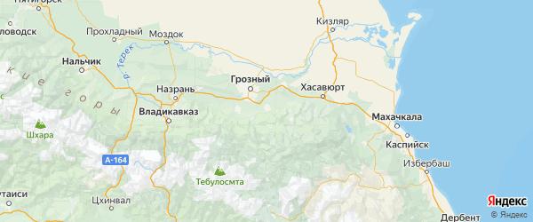 Карта Шалинского района Республики Чечни с городами и населенными пунктами