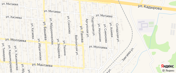 Аргунская улица на карте села Мескер-Юрт с номерами домов