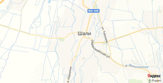 Карта Шали с улицами и домами подробная. Показать со спутника номера домов онлайн