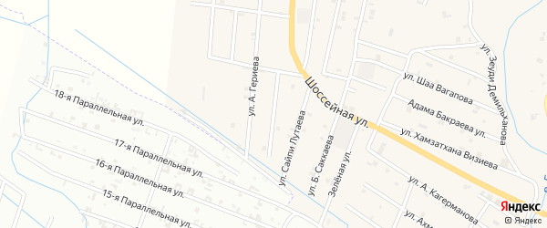 Улица Абдул-Керима Маашева на карте села Герменчук Чечни с номерами домов