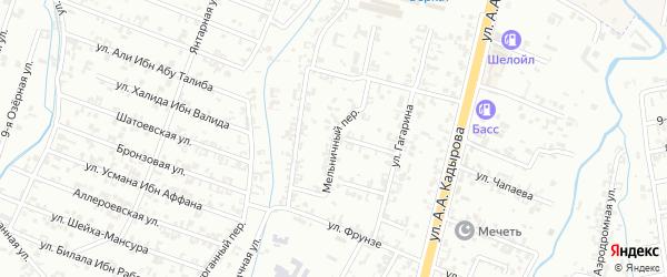 Мельничный переулок на карте Шали с номерами домов