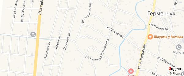 Улица Пушкина на карте села Герменчук Чечни с номерами домов
