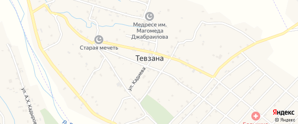 Крайний переулок на карте села Тевзаны с номерами домов