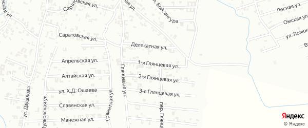 1-я Глянцевая улица на карте Шали с номерами домов
