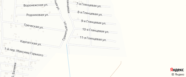 11-я Глянцевая улица на карте Шали с номерами домов
