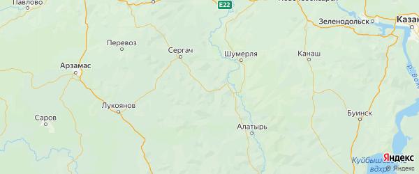 Карта Сеченовского района Нижегородской области с городами и населенными пунктами