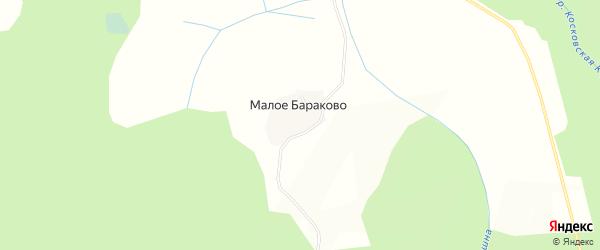 Карта деревни Малого Бараково в Вологодской области с улицами и номерами домов