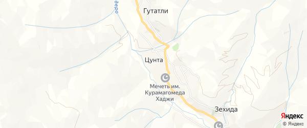 Карта села Цунта в Дагестане с улицами и номерами домов