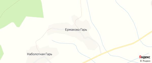 Карта деревни Ермаковой Гаря в Вологодской области с улицами и номерами домов