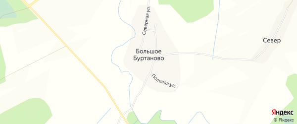 Карта деревни Большого Буртаново в Вологодской области с улицами и номерами домов