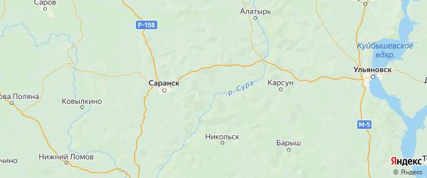 Карта Большеберезниковского района Республики Мордовии с городами и населенными пунктами