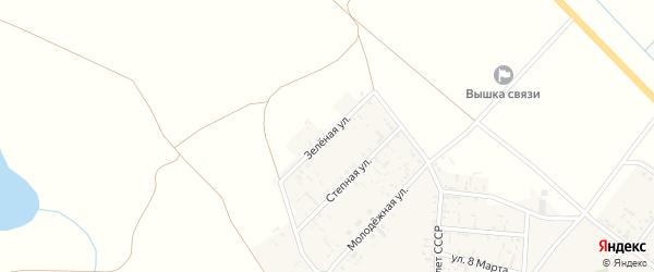 Зеленая улица на карте села Пологого Займища Астраханской области с номерами домов