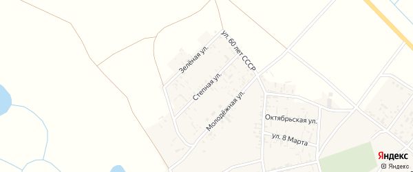 Степная улица на карте села Пологого Займища Астраханской области с номерами домов