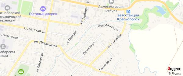 Заовражная улица на карте села Красноборска с номерами домов