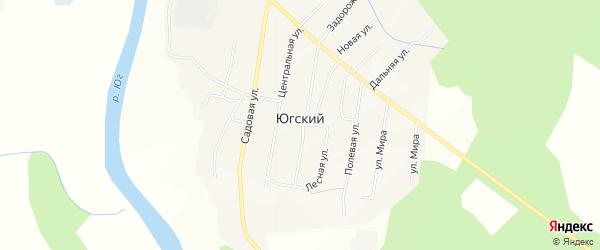 Карта Югский поселка в Вологодской области с улицами и номерами домов