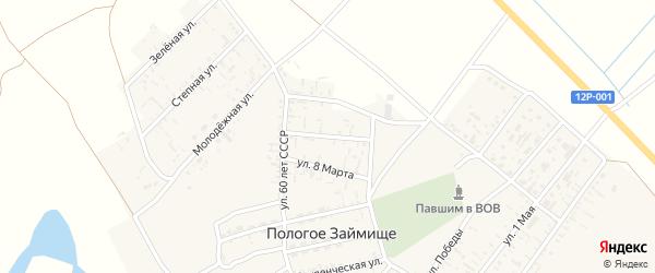 Октябрьская улица на карте села Пологого Займища Астраханской области с номерами домов