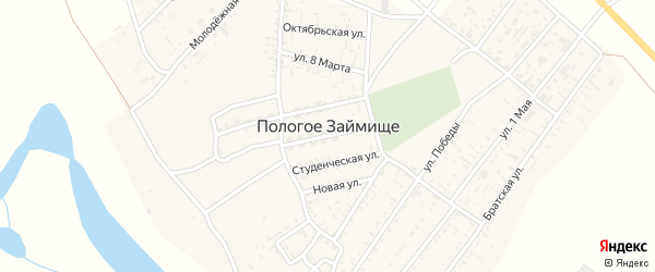 Улица Урицкого на карте села Пологого Займища Астраханской области с номерами домов