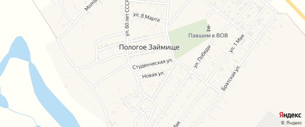 Студенческая улица на карте села Пологого Займища Астраханской области с номерами домов