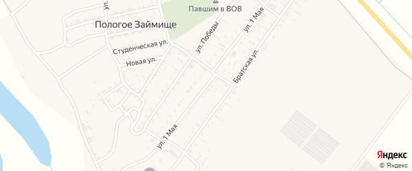 1 Мая улица на карте села Пологого Займища Астраханской области с номерами домов