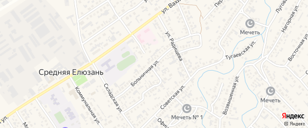 Больничная улица на карте села Средней Елюзани Пензенской области с номерами домов