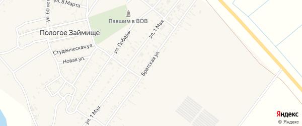Братская улица на карте села Пологого Займища Астраханской области с номерами домов