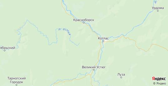 Карта Котласского района Архангельской области с городами и населенными пунктами
