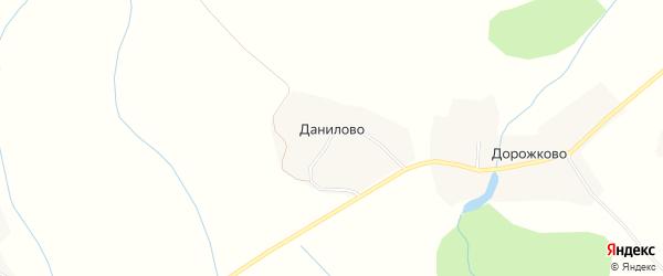 Карта деревни Данилово в Вологодской области с улицами и номерами домов