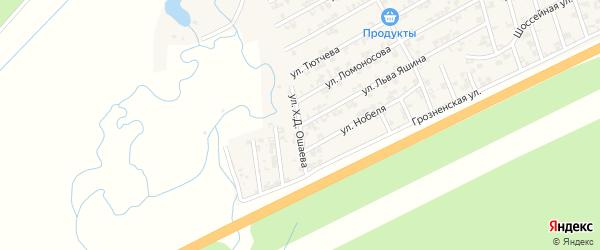Улица Ошаева на карте села Джалка Чечни с номерами домов