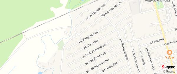 Улица Бисултанова на карте села Джалка Чечни с номерами домов