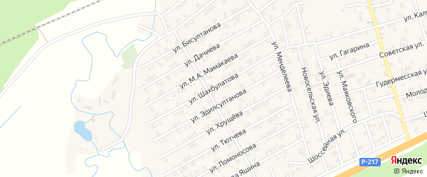 Улица Шахбулатова на карте села Джалка Чечни с номерами домов