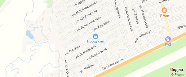 Улица Тютчева на карте села Джалка Чечни с номерами домов