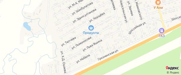Улица Ломоносова на карте села Джалка Чечни с номерами домов