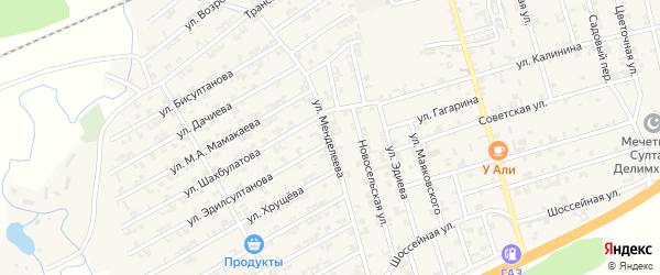 Улица Менделеева на карте села Джалка Чечни с номерами домов