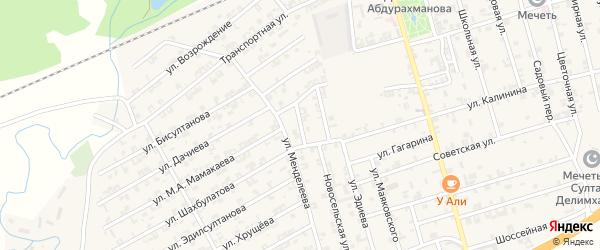 Майский переулок на карте села Джалка Чечни с номерами домов