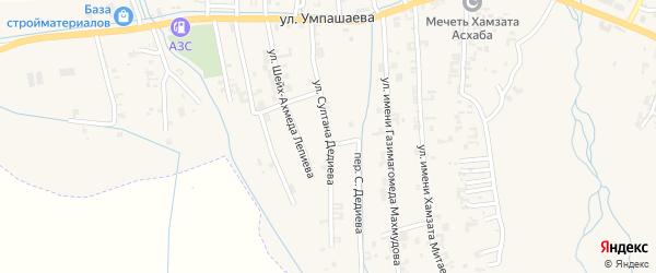 Улица Султана Дедиева на карте села Автуры Чечни с номерами домов