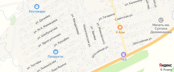 Новосельская улица на карте села Джалка Чечни с номерами домов