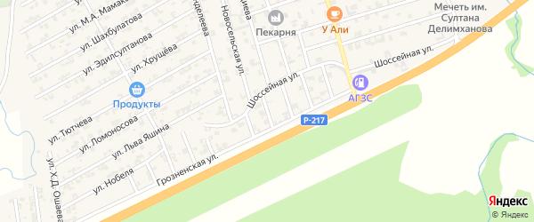 Шалинская улица на карте села Джалка Чечни с номерами домов