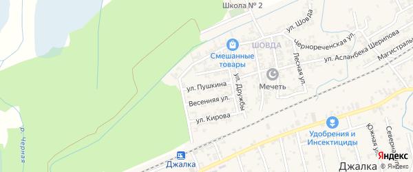 Улица Пушкина на карте села Джалка Чечни с номерами домов
