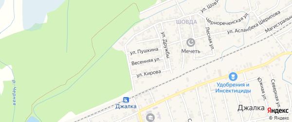 Весенняя улица на карте села Джалка Чечни с номерами домов