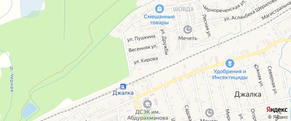 Улица Кирова на карте села Джалка Чечни с номерами домов