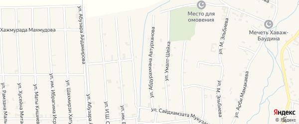 Улица Абдурахмана Автурханова на карте села Автуры Чечни с номерами домов
